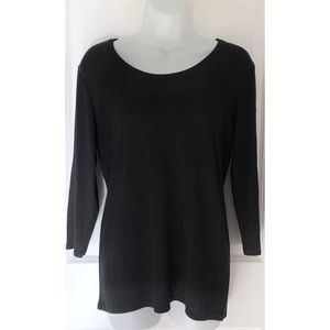 Magaschoni Black 3/4 Sleeve Ribbed Scoop Neck Tee